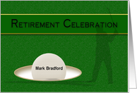 Retirement Celebration Invitation - For Golfer - Golf Ball - Name card