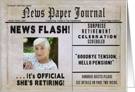 SHE'S RETIRING INVITATION - News Paper Journal - Photo Insert card