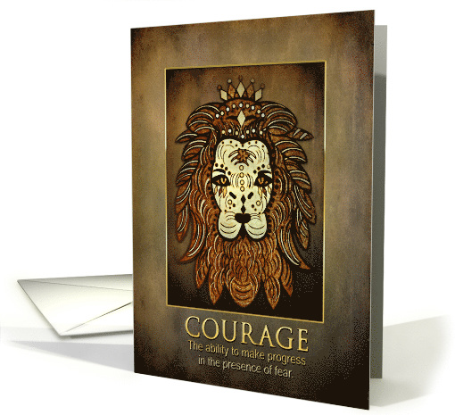 Encouraging - Lion - Etching - Brown Textures - Courage - Blank card