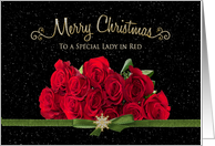 Christmas, Lady in Red Roses with snowy background card