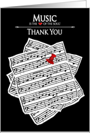 Music Sheets, Thank You, Blank Inside - Music is the Heart of the soul card