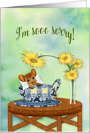 I'm Sorry, Mouse Cuddled with Blanket in Tea Cup, Blank card