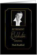 Retirement Celebration Invitation, Black/Gold Trim, Photo/Name Insert card