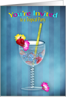 Invitation, Tropical Party, Cocktail Glass, Flowers/Strawberry card