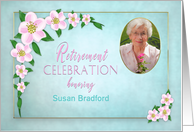Retirement Celebration Invitation, Apple Blossoms, Photo/name Insert card
