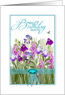 Birthday, Secret Pal, Garden of Flowers,Tourquoise Ribbon & Faux Jewel card