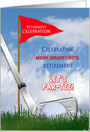 Retirement Party Invitation, Golf Theme, Club and Ball, Flag, Name card