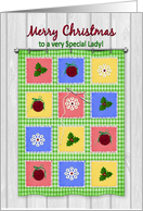 Christmas, Wall Hanging Quilt, Needle and Thread, Special Lady card