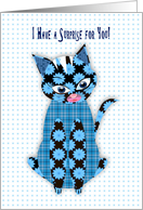 I have a Surprise for you, Blue Print Kitty Cat, Assorted Patterns Announcement card