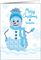 Christmas, Sweetie, Snowman in Assortment of Blue Patterns card