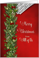 Christmas,From all of Us, Music Notes Music, Pine Branches Decorated card