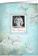 Feminine Floral Retirement Invitation, Photo Insert and Aqua Filter card