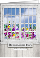 Housewarming Party Invitation, Old Window, Flowers in Window Box card