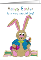Easter, Special Boy, Stuffed Bunny Rabbits on Patchwork Quilt card