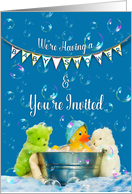 Baby Shower Invitation, Rubber Duck and Stuffed Animals Playing in Tub card