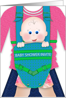 Baby Shower Party Invitation, Baby In Carrier Strapped to Mother card