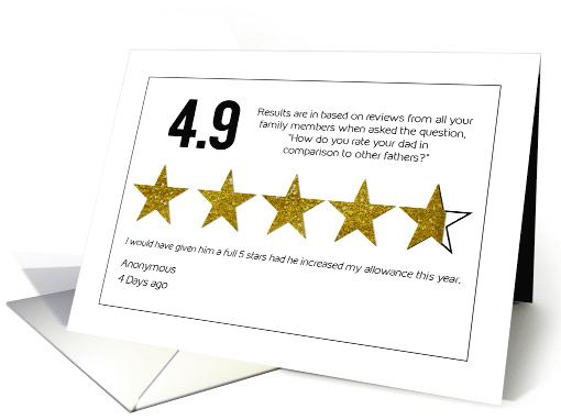 Father's Day, DAD, Rating 4.9 Gold Efffect Stars, Humor card (1602988)