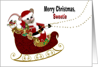 Santa Mouse Christmas, Sweetie, Fat Mouse Driving Sleigh with Toys card