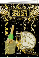Welcome 2021 New Year Fire Works Champagne and Clock card