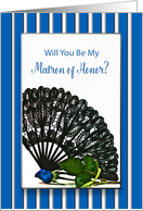 Bridal Party Invitation, Matron Of Honor, Black Lace Fan, Blue Stripes card