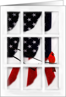 Thinking of You Patriotic Christmas Window Pane, Flag and Red Cardinal card
