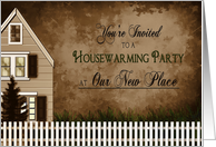 Housewarming Party Invitation, Cozy Home with Picket Fence,Warm Tones card