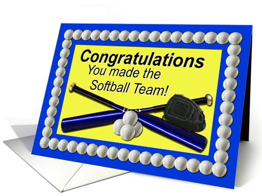 Softball Team Congratulations Blue and Yellow card (417114)