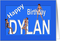 Dylan's Birthday Pin-Up Girls, Blue card