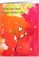 Happy Mothers Day- Step Mom - Watercolor - Stick Man -Gold Balloons card