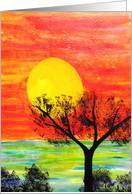 Sunrise by the Ocean - Painting card