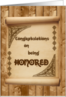 Congratulations on being Honored, Scroll on Wall card