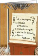 Happy Festivus, Pole and Scroll with Holiday Elements card
