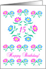 pink and blue flowers, happy 15th birthday card