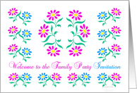pink and blue flowers, welcome to the family party invitation card