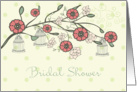 Bridal shower Invitation --Spring flowers blossom and bird cages card