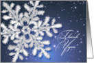 Business Thank you card - Silver snowflake on dark night starry sky card