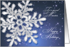 Christmas for Mentor - Silver snowflake on dark blue night sky card