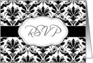 Invitation Reply, RSVP - Black and white damask pattern card