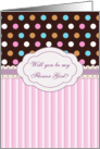 Flower Girl Invitation - Multi - colored polka dot and pink stripes card