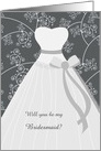 Wedding, Be my Bridesmaid - white dress and swirls on black card