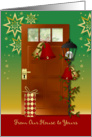 Christmas, from our house to yours card - bells, door and lantern card