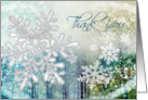 Thank you for Christmas gift card - silver snowflakes on blue card