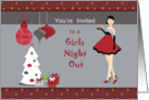 Girls Night Out Invitation - Girl, Ornaments, Christmas Tree card