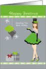 Festivus - Girl and ornaments card
