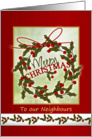 Christmas Neighbour - wreath and holly card