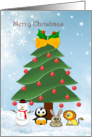 Christmas tree and animals card