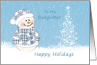 Christmas Babysitter - Baby snowman and tree with snow card