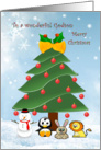 Christmas Godson - tree and animals card