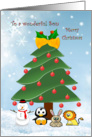 Christmas Son - tree and animals card