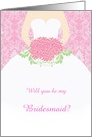 Wedding, Bridesmaid - white gown, flowers on pink damask card